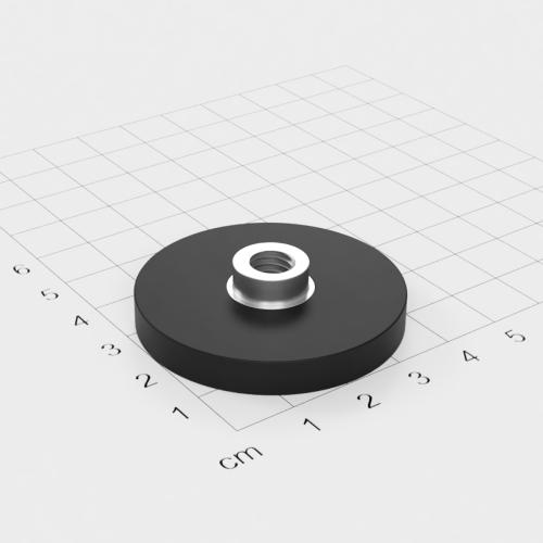 Magnetsystem mit Buchse und Innengewinde, D=43mm, H=6mm, gummiert, Grade N35, Gewinde M8