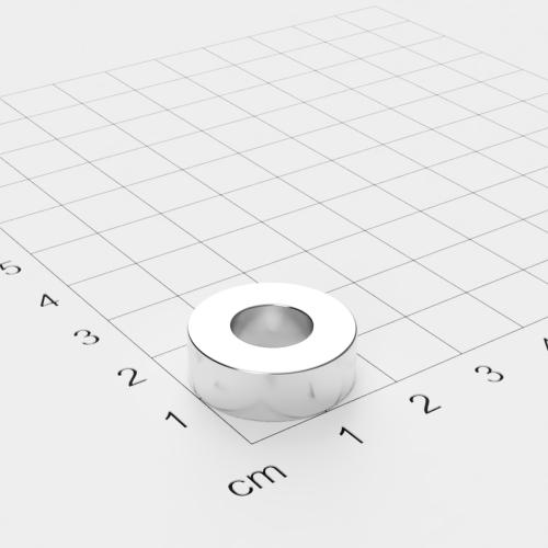 Neodym Ringmagnet, 19x6.4mm mit 9mm Bohrung, vernickelt, Grade N42