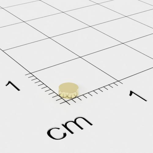 Neodym Scheibenmagnet, 3x1 mm, vergoldet, Grade N45H