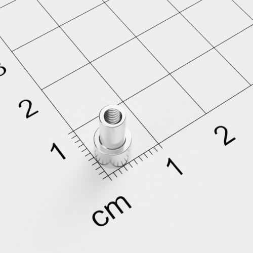 Topfmagnet mit Innengewinde, D=6mm, H=4,5mm, vernickelt, Grade N38, Gewinde M3