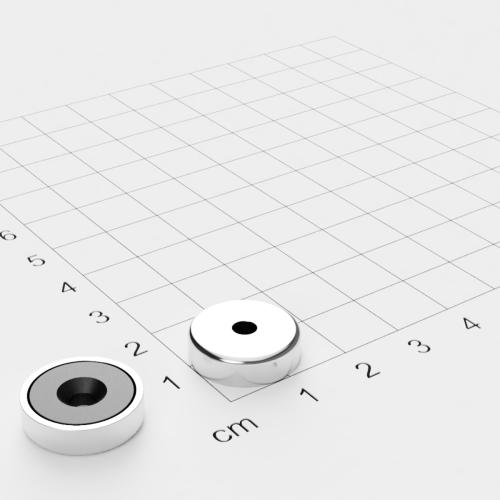 Topfmagnet Ferrit, 16x4.5mm mit Bohrung und Senkung