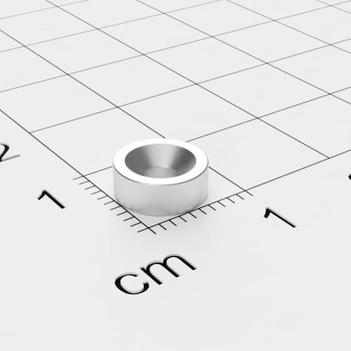 Neodym Scheibenmagnet mit Bohrung und Senkung, 8x3mm, 3mm Bohrung, vernickelt, Grade N45