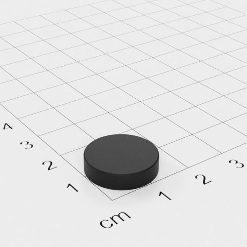 Gummierter Neodym Scheibenmagnet, 16x4mm, vernickelt, Grade N42