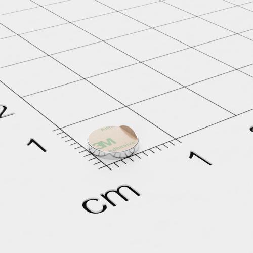 Neodym Scheibenmagnet, 6x1mm, vernickelt, selbstklebend, Grade N45 - Anziehend