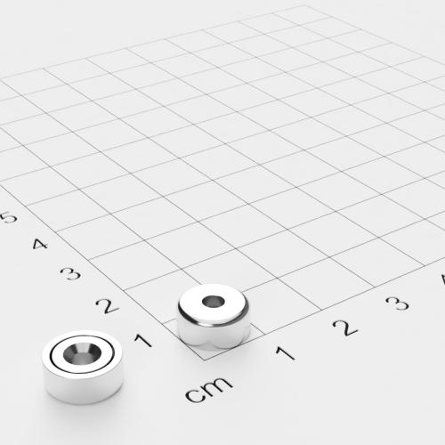 Topfmagnet mit Bohrung und Senkung, 10x4.5mm, Bohrung 3mm, vernickelt, Grade N38