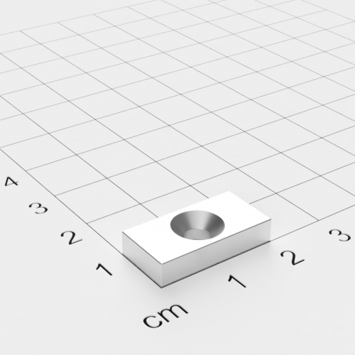 Neodym Quadermagnet mit Bohrung und Senkung, 20x10x4mm, 4mm Bohrung, vernickelt, Grade N35