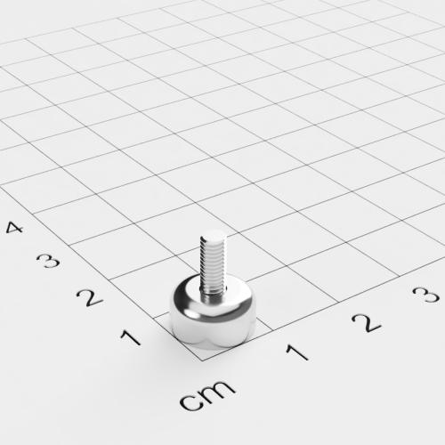 Topfmagnet mit Außengewinde, D=10mm, H=5mm, vernickelt, Grade N35, Gewinde M3