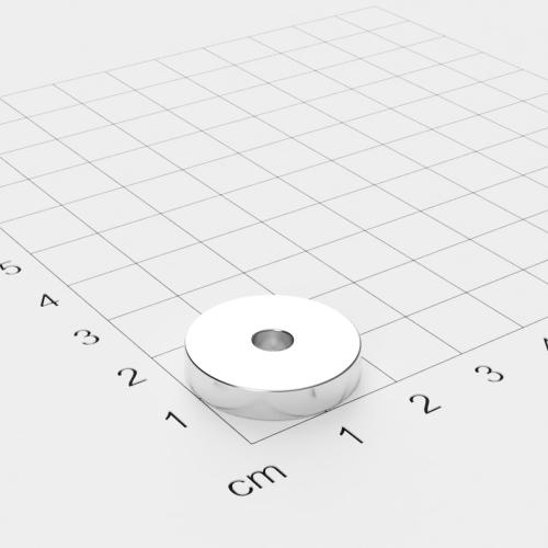 Neodym Ringmagnet, 20x4mm mit 4,5mm Bohrung, vernickelt, Grade N45