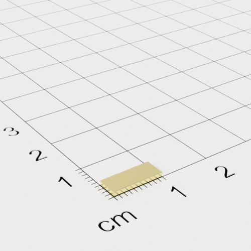 Neodym Quadermagnet, 10x4x1mm, vergoldet, Grade N50
