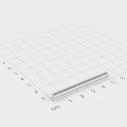 Neodym Stabmagnet, 5x50mm, vernickelt, Grade N30