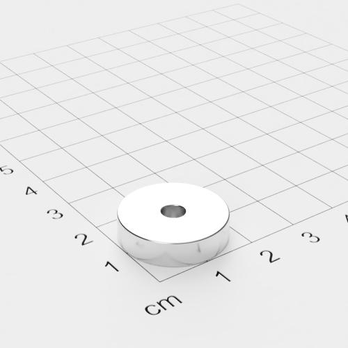 Neodym Ringmagnet, 20x5mm mit 4.2mm Bohrung, vernickelt, Grade N45