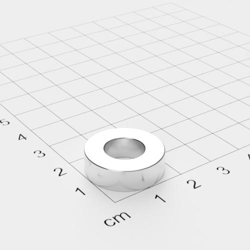 Neodym Ringmagnet, 20x6mm mit 10mm Bohrung, vernickelt, Grade N45