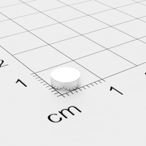 Neodym Scheibenmagnet, 6x2mm, vernickelt, Grade N35EH, bis 200°C