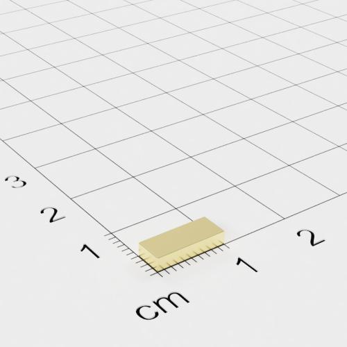 Neodym Quadermagnet, 10x4x2mm, vergoldet, Grade N50