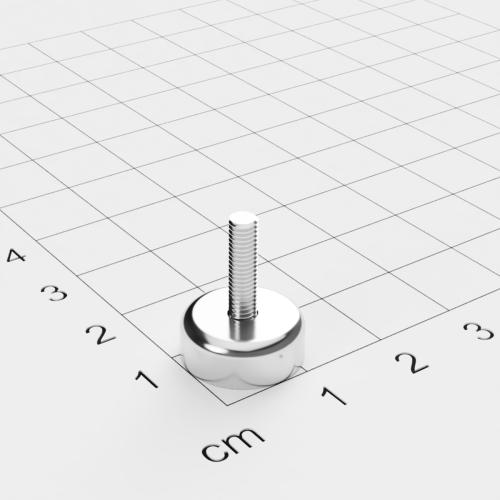 Topfmagnet mit Außengewinde, D=16mm, H=5mm, vernickelt, Grade N35, Gewinde M3