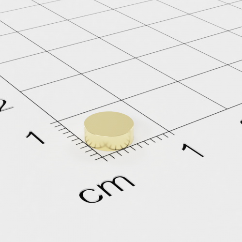 Neodym Scheibenmagnet, 6x2mm, vergoldet, Grade N45