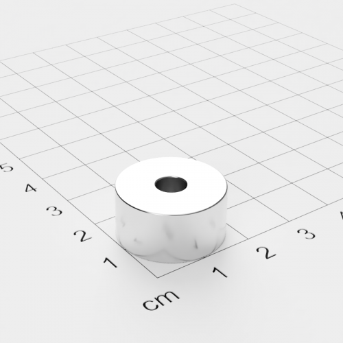 Neodym Ringmagnet, 20x10mm mit 5,5mm Bohrung, vernickelt, Grade N45