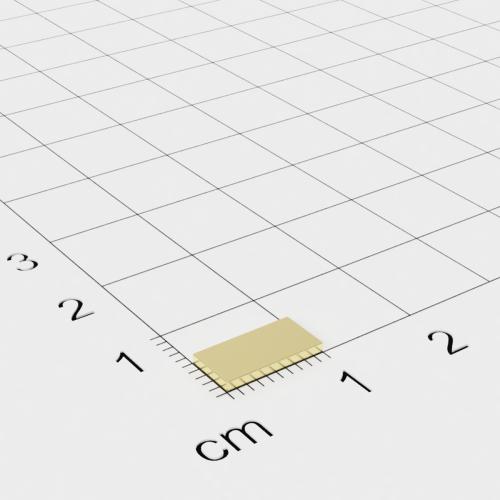 Neodym Quadermagnet, 10x5x1mm, vergoldet, Grade N50