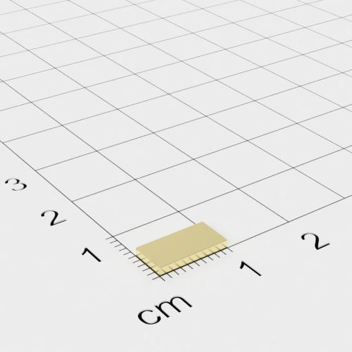 Neodym Quadermagnet, 10x5x1.2mm, vergoldet, Grade N50