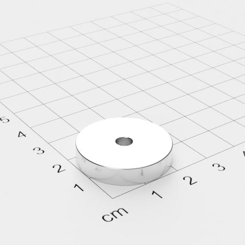 Neodym Ringmagnet, 25x5mm mit 4.2mm Bohrung, vernickelt, Grade N45