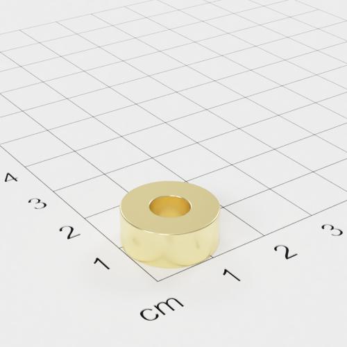 Neodym Ringmagnet, 15x6mm mit 6mm Bohrung, vergoldet, Grade N45