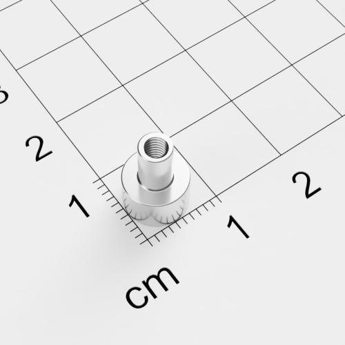 Topfmagnet mit Innengewinde, D=8mm, H= 5mm, vernickelt, Grade N38, Gewinde M3