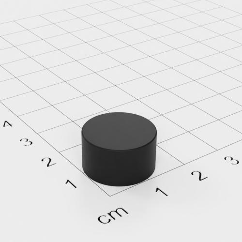 Gummierter Neodym Scheibenmagnet, 16x9mm, vernickelt, Grade N42