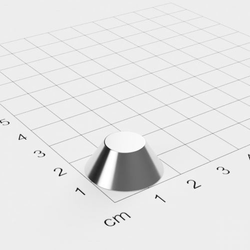 Neodym Konusmagnet, 20x10x8mm, vernickelt, Grade N38