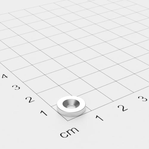 Neodym Scheibenmagnet mit Bohrung und Senkung, 10x2mm, 3mm Bohrung, vernickelt, Grade N45SH