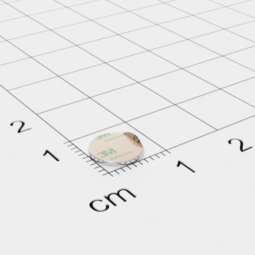 Neodym Scheibenmagnet, 8x0.75mm, vernickelt, selbstklebend, Grade N35 - Anziehend