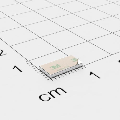 Neodym Quadermagnet, 10x5x1mm, vernickelt, selbstklebend, Grade N35 - Anziehend