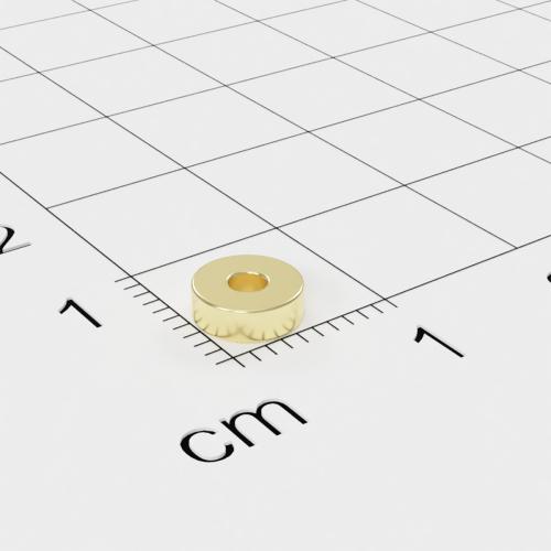 Neodym Ringmagnet, 6x2mm mit 2mm Bohrung, vergoldet, Grade N45