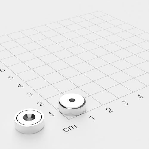 Topfmagnet mit Bohrung und Senkung, 13x4.5mm, Bohrung 3mm, vernickelt, Grade N35
