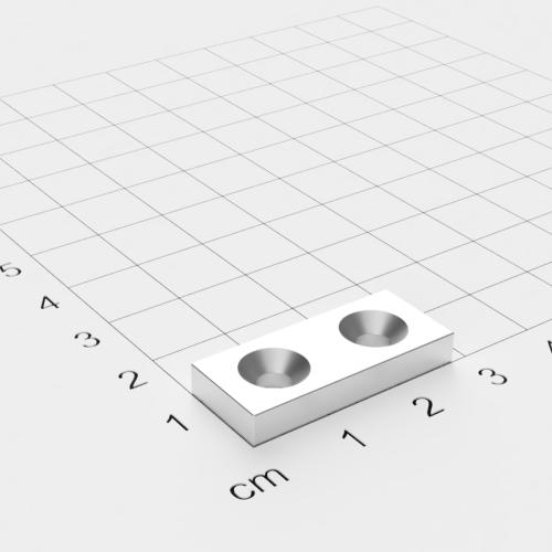 Neodym Quadermagnet mit Bohrung und Senkung, 28x12x4mm, 2x4mm Bohrung, vernickelt, Grade N35