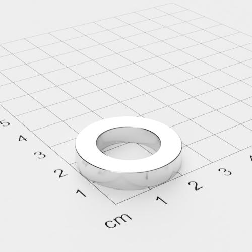 Maße Neodym Ringmagnet, 27x5mm mit 16mm Bohrung, vernickelt, Grade N42