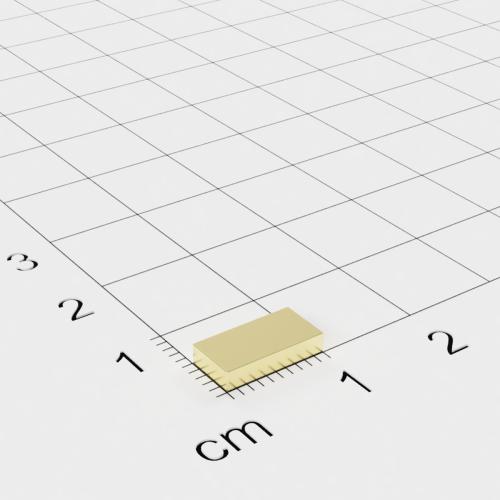 Neodym Quadermagnet, 10x5x2mm, vergoldet, Grade N50