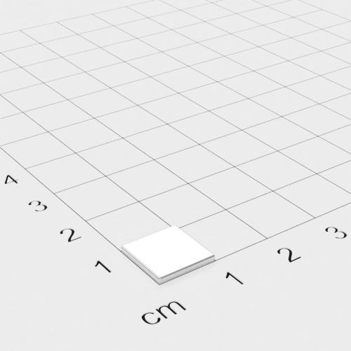 Neodym Quadermagnet, 10x10x1mm, vernickelt, Grade N45