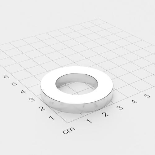Neodym Ringmagnet, 40x5mm mit 25mm Bohrung, vernickelt, Grade N45