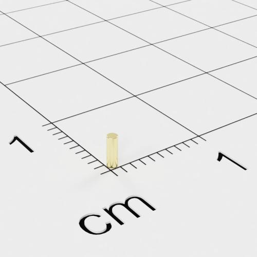 Neodym Stabmagnet, 1x3mm, vergoldet, Grade N45H