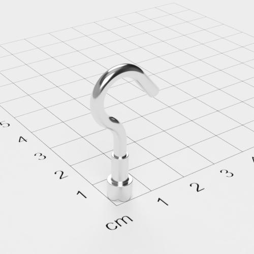 Topfmagnet mit Haken, D=6 mm, H=4,5 mm, vernickelt, Grade N38, Gewinde M3