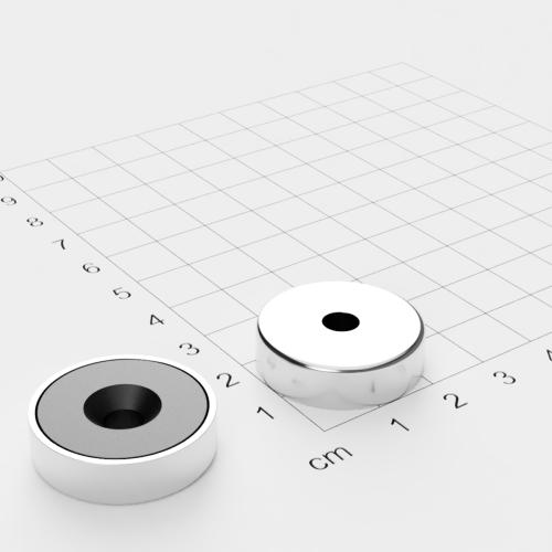 Topfmagnet Ferrit, 25x7mm mit Bohrung und Senkung