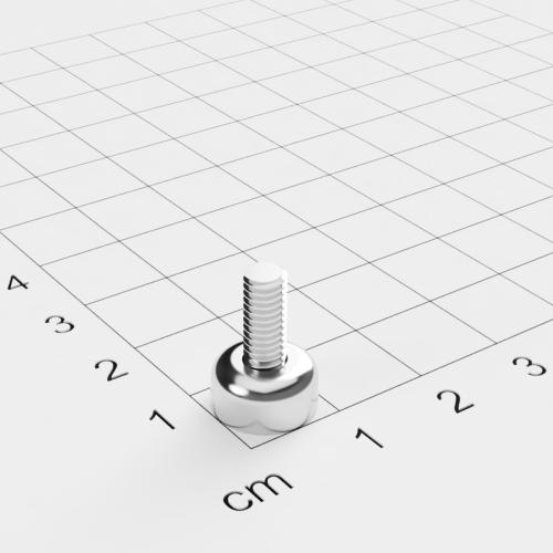 Topfmagnet mit Außengewinde, D=10mm, H=5mm, vernickelt, Grade N35, Gewinde M4