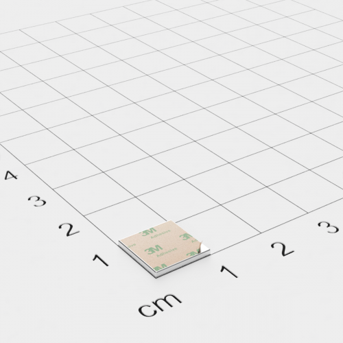 Neodym Quadermagnet, 10x10x1mm, vernickelt, selbstklebend, Grade N35 - Anziehend