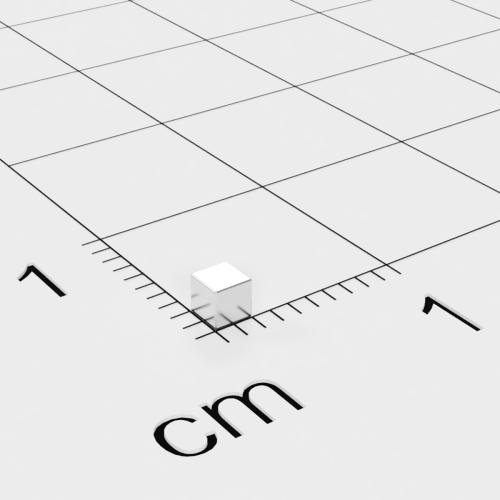 Neodym Würfelmagnet, 2x2x2mm, vernickelt, Grade N52