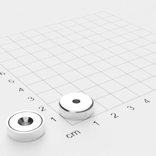Topfmagnet mit Bohrung und Senkung, 16x5mm, Bohrung 3.5mm, vernickelt, Grade N35