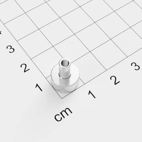 Topfmagnet mit Innengewinde, D=10mm, H=5mm, vernickelt, Grade N38, Gewinde M3