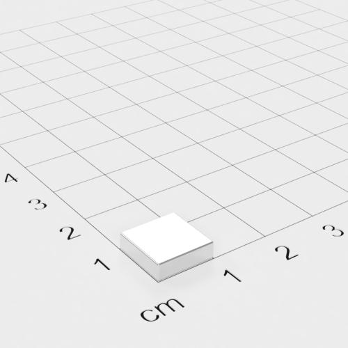Neodym Quadermagnet, 10x10x3mm, vernickelt, Grade N52SH