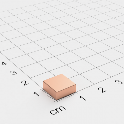 Neodym Quadermagnet, 10x10x4 mm, verkupfert, Grade N40