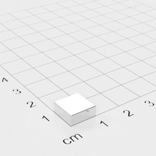 Neodym Quadermagnet, 10x10x4 mm, vernickelt, Grade N40