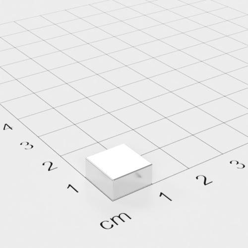 Neodym Quadermagnet, 10x10x5mm, vernickelt, Grade N45